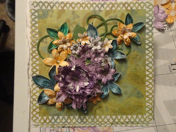 Easel Card Front - 3-D Spellbinders, Heartfelt Creations flowers, M.S. Edge Punch
