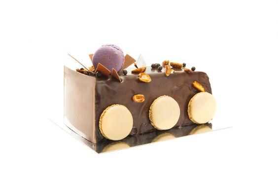 Chocolate Peanut Butter Log (GF): Chocolate mousse, Frangelico ganache, Chocolate almond cake, peanut butter cream, peanut crunch & caramelized peanuts