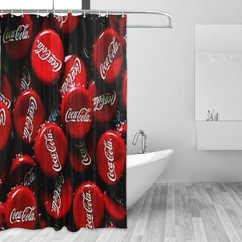 Cocacola Bottle Caps Red Black Shower Curtain Black Shower