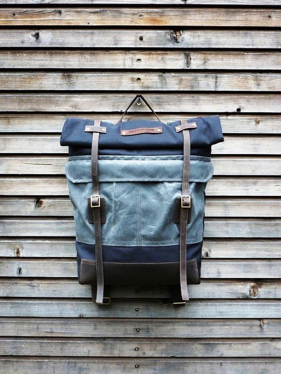 Canvas rucksack/backpack with roll up top and waxed leather bottem COLLECTION UNISEX