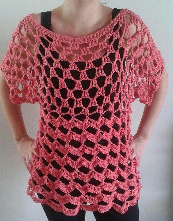 Blusa em crochê tamanho G <br>Material: Barbante