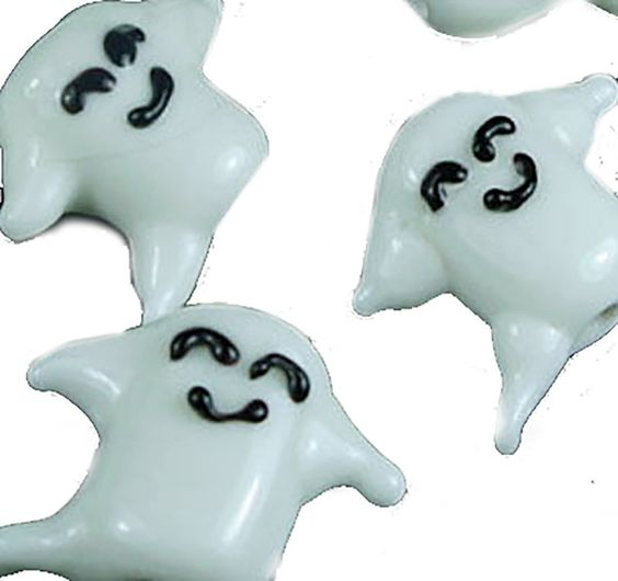 """Amazon.com: Luxury & Custom {16 x 20 x 10mm} of 5 Individual Large Size """"Lampworked"""" Beads Made of Genuine Glass w/ Adorable Smiling Halloween Night Spooky Sheet Boo Ghost Design {Black & White}: mySimple Products: Arts, Crafts & Sewing"""