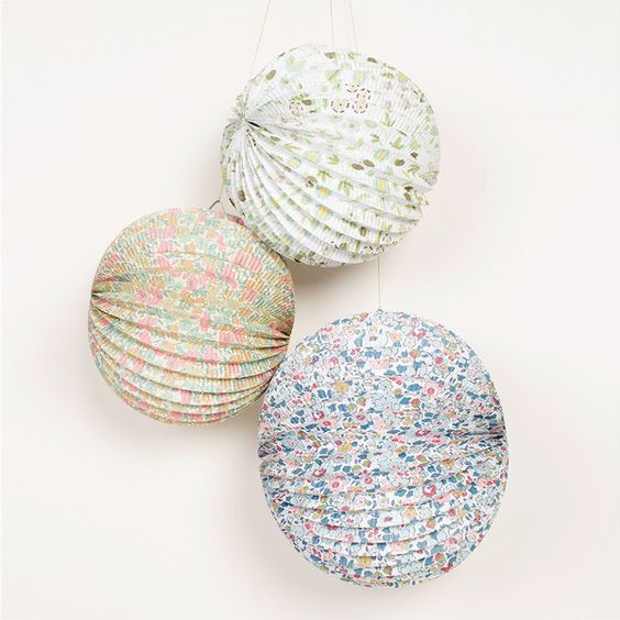 Liberty Print Paper Globes - Set of Three by Meri Meri