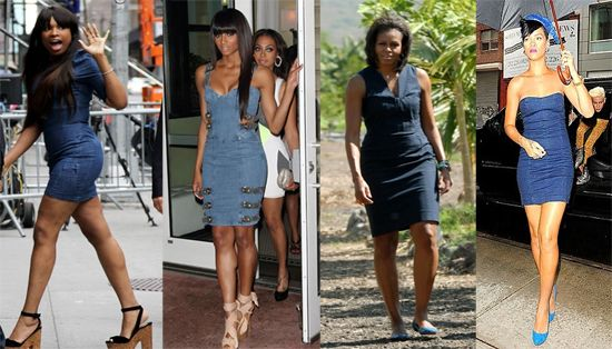 celebrities in denim dresses