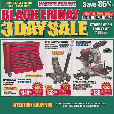 View the Harbor Freight 2015 Black Friday Ad with Harbor Freight deals and sales