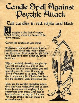 Candle Spell Against Psychic Attack, Book of Shadows Page, BOS Pages, Witchcraft