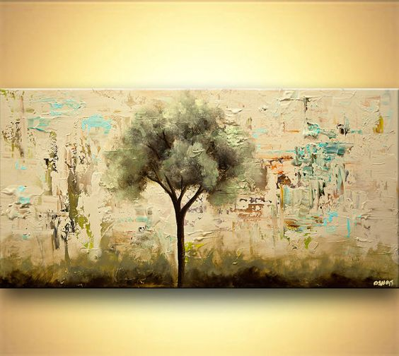 Tree Painting Landscape painting abstract painting large painting by Osnat Tzadok cream and sage impasto ready to hang