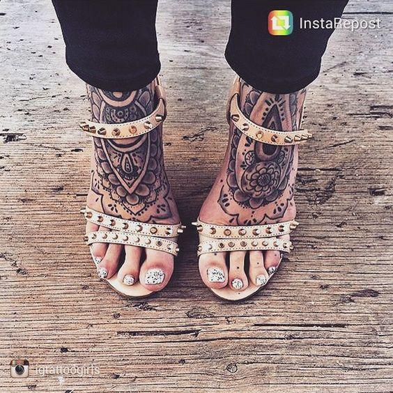 60 Amazing Foot Tattoos: Amazing Mandala Foot Tattoo #ink #youqueen #girly #tattoos