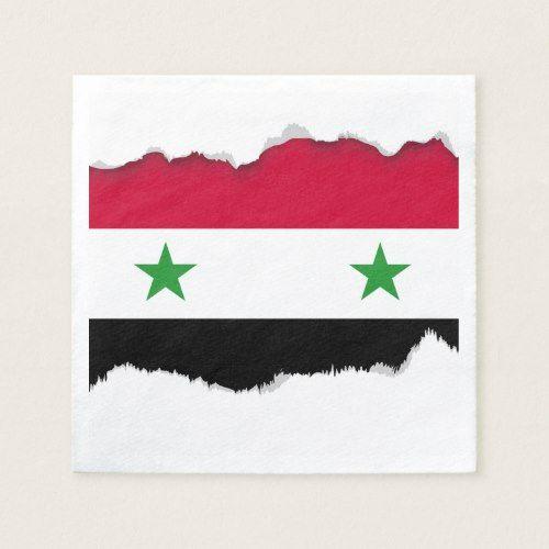 The Flag Of Syria Paper Napkin Syria Flag Personalized Flag Personalized Paper Napkins