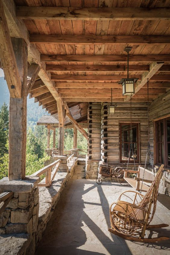 Paradise mountain lodge exterior view rustic wood for Log home porches