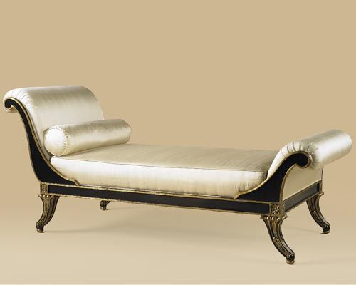 Faux Ebony Finished Chaise Lounge, Painted Gold Accents, Fabric Upholstery  | Home Decor | Pinterest | Chaise Lounges, Upholstery And Bedrooms
