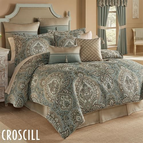 Luxurious New 9 pcs Gold// Blue  Medallion Paisley Comforter Set Cal King Queen