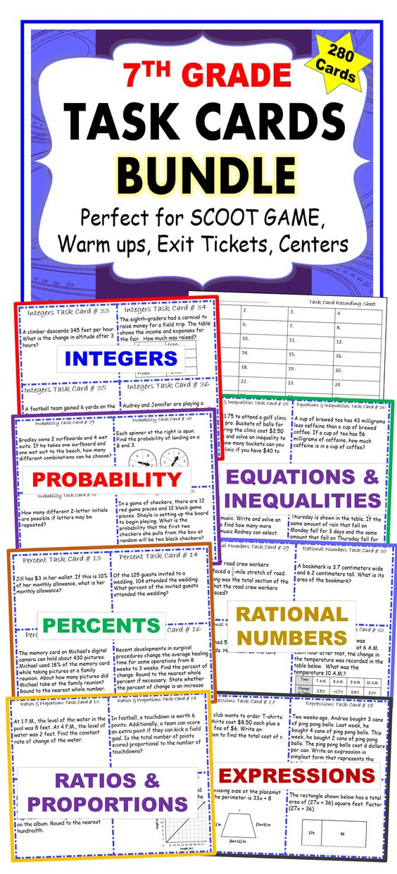 7th Grade Task Cards BUNDLE Common Core {280 Cards}. I use these task cards with my students to help them practice PROBLEMS SOLVING. This resource includes 280 task cards (7 sets/40 cards per set), student answer sheets, and answer keys. Your students will love working with these task cards. These TASK CARDS are perfect for reinforcing concepts through individual student practice, pair-share, early finishers, and assessment prep. 7NS, 7RP, 7EE, 7G, 7SP