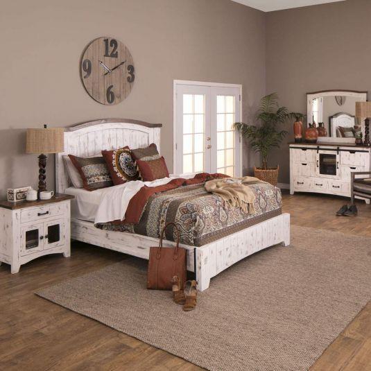 Potter Rustic White Queen Bed Dresser Mirror Nightstand In