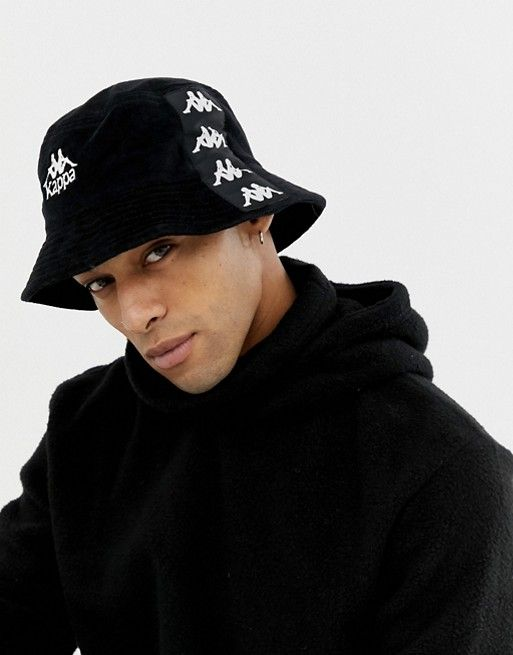 fegato commercio Di tempesta  Kappa velour bucket hat with embroidered logo and logo taping in black |  Bucket hat, Kappa, Hats