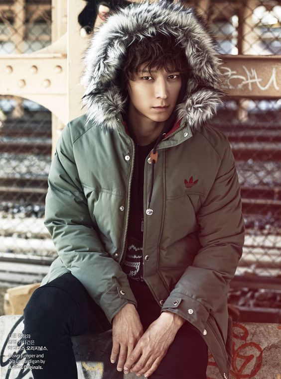 Puffy winter jacket with fur trimmed hood by Adidas // Kang Dong Won