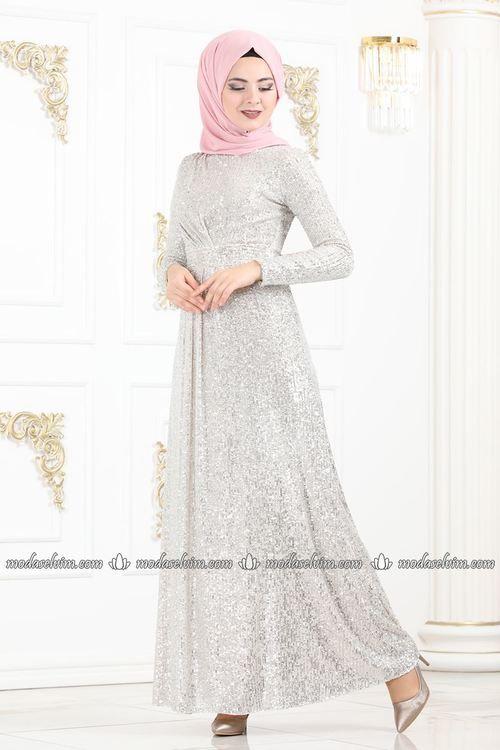 Modaselvim Abiye Pile Detay Payetli Abiye Pn2030 Krem Elbiseler Elbise Dugun Elbise