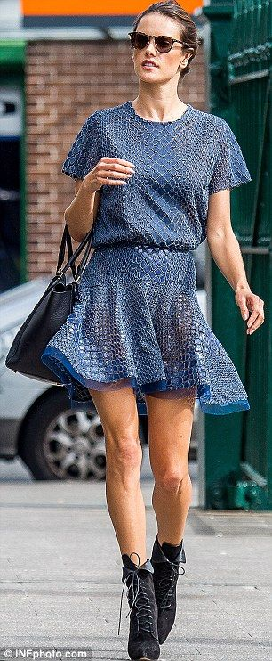 She's got swagger: Alessandra strolled off the Alex Perry catwalk and onto Sydney's Wooloomooloo Finger Wharf for lunch