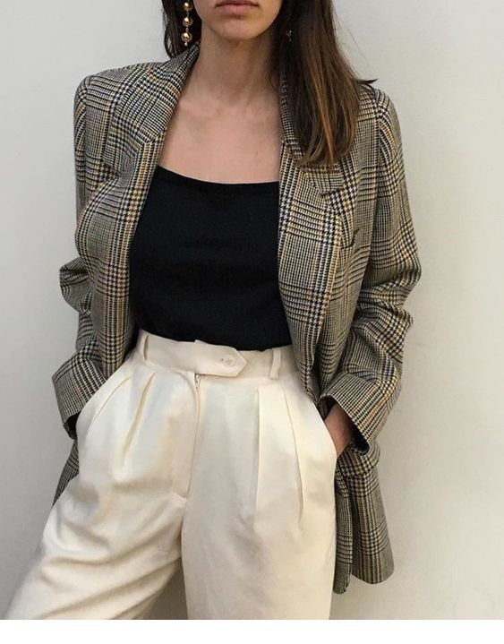 Nice Plaid Vintage Blazer Fashion Fancy Outfits Street Style Outfit