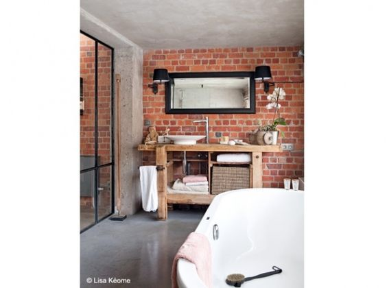 salle de bains brique rouge id e deco pinterest loft briques et rouge. Black Bedroom Furniture Sets. Home Design Ideas