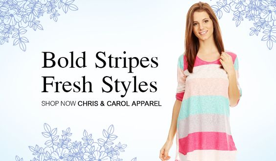 Wear your stripes. Shop with Chris & Carol.  http://www.fashiongo.net/chriscarol #fashion #fashiongo #spring #style #trend