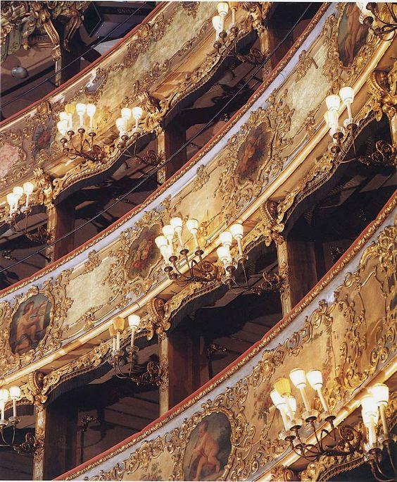 Teatro La Fenice Venezia, Italy. Tiers of boxes.