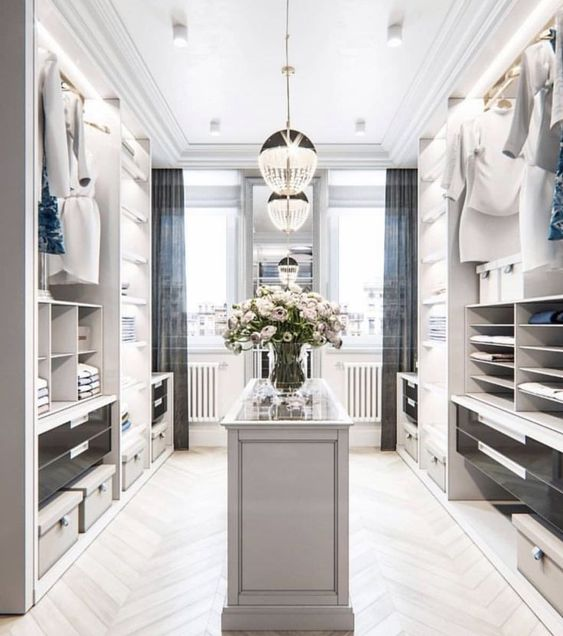 White themed walk in closet #closet #storage #organization #allenrothCloset #allenAndRothCloset #closetShelves