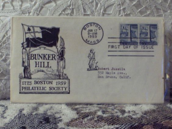 http://ajunkeeshoppe.blogspot.com/   First Day Issue/Cover-Stamp-Bunker Hill 1959 2 1/2c 8ozP724B4HP1194