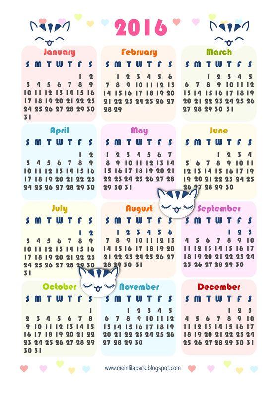 FREE printable 2016 kawaii calendar - ausdruckbarer Kalender 2016