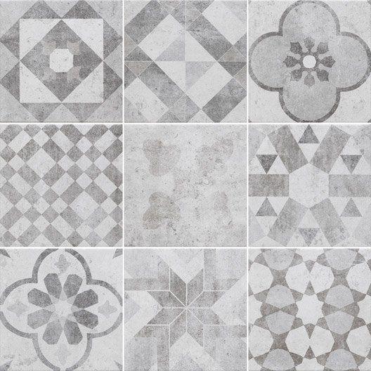 20€ m² EXTERIEUR Carrelage gris & blanc effet terre cuite Villa l.20 x L.20 cm | ACARREAUX ...