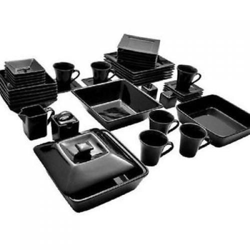 45 Piece Black Dinnerware Set Square Banquet Plates Dishes Bowls