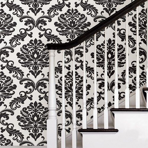 Ariel Black And White Damask Peel And Stick Wallpaper Lelands Wallpaper Ariel Black And White Damask Peel And Stick Wallpaper Nuwallpaper By Brewste Tapet