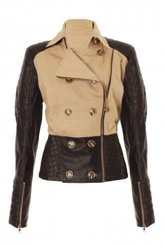 Black & tan leather jacket.