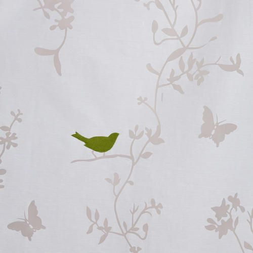 Curtains Ideas curtains birds theme : White Bird and Botanical Burnout Curtain Panel | World Market ...