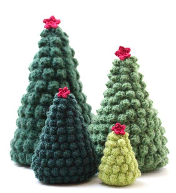 sapin décoratifs au tricot pour noël
