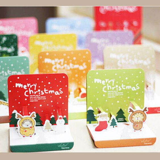 クリスマスカード10+10エンベロープ+3dグリーティングカードセット折りたたみ式クリスマスギフトはがき装飾的なカード(China (Mainland))