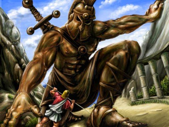 Jasao lutando contra o gigante de bronze