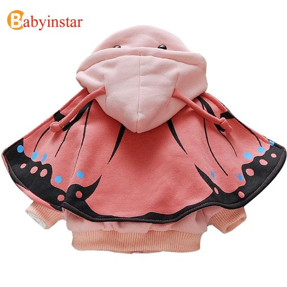 New 2016 Girls Coat Removable Cloak + Hoodies Cute Butterfly Children Jacket Outerwear Autumn Winter Kids Coats