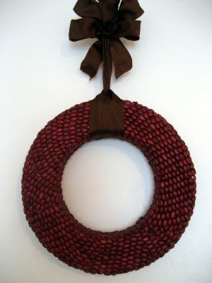 kidney bean wreath.  thinking coffee beans might be nice too... (mabe a fall/christmas wreath?)