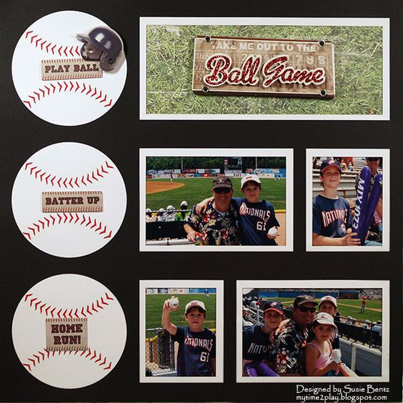 Baseballs themed layout by Susie Bentz using an Overlay from Want2Scrap