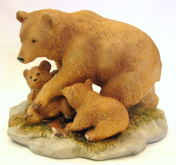Homco Home Interiors Brown Bear Family Figurine 1435 Figurines
