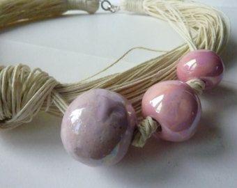 Collana dei monili di tela con colori primaverili Perline ceramica