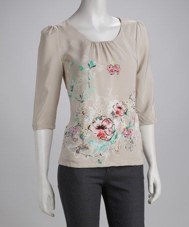 Take a look at this Cream Annie Top by Darling on #zulily today!