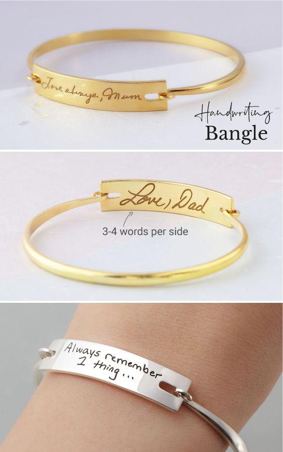Engraved Bracelet, Signature Bracelet Bridesmaid Gift Handwriting Bracelet Actual handwriting Sterling Silver Christmas Gift
