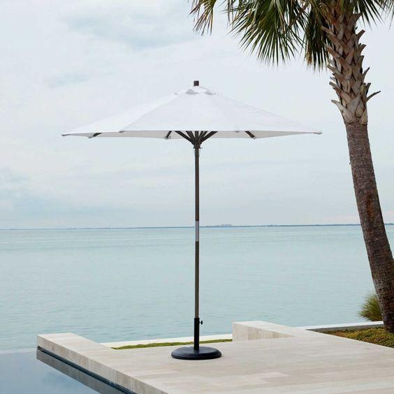 Round Wooden Umbrella - White
