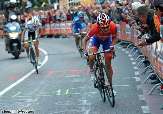 Marianne Vos (Netherlands) attacked the three that went clear on the final time up the Cauberg