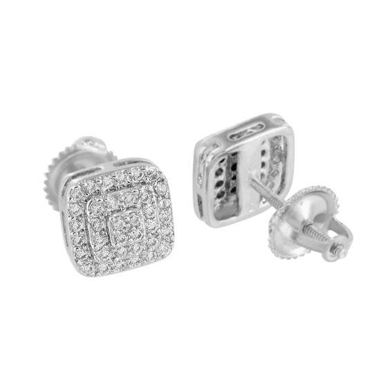 Mens Earrings Square White Gold Finish Screw Back Custom Style Elegant Simulated CZ