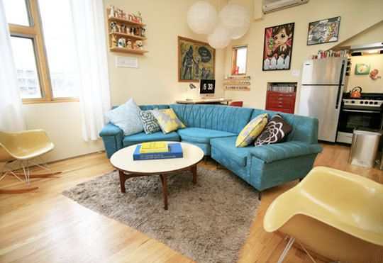 10 ways to customize a Rental: Blue Couch, Apartment Therapy, Living Room, Blue Sofa, Apartment Living, Sectional Sofa