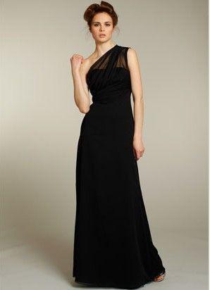 One shoulder long empire black chiffon sleeveless pleated ...