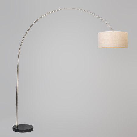 Lámpara de arco XXL acero pantalla 50cm cilíndrica crema #interiorismo #decoracion #lamparayluz